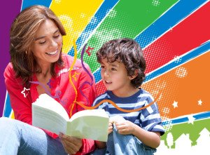 Mother and child reading book together with colorful background