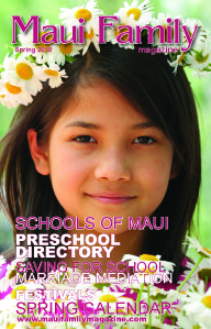 girl with daisy flower crown Maui Family Magazine cover