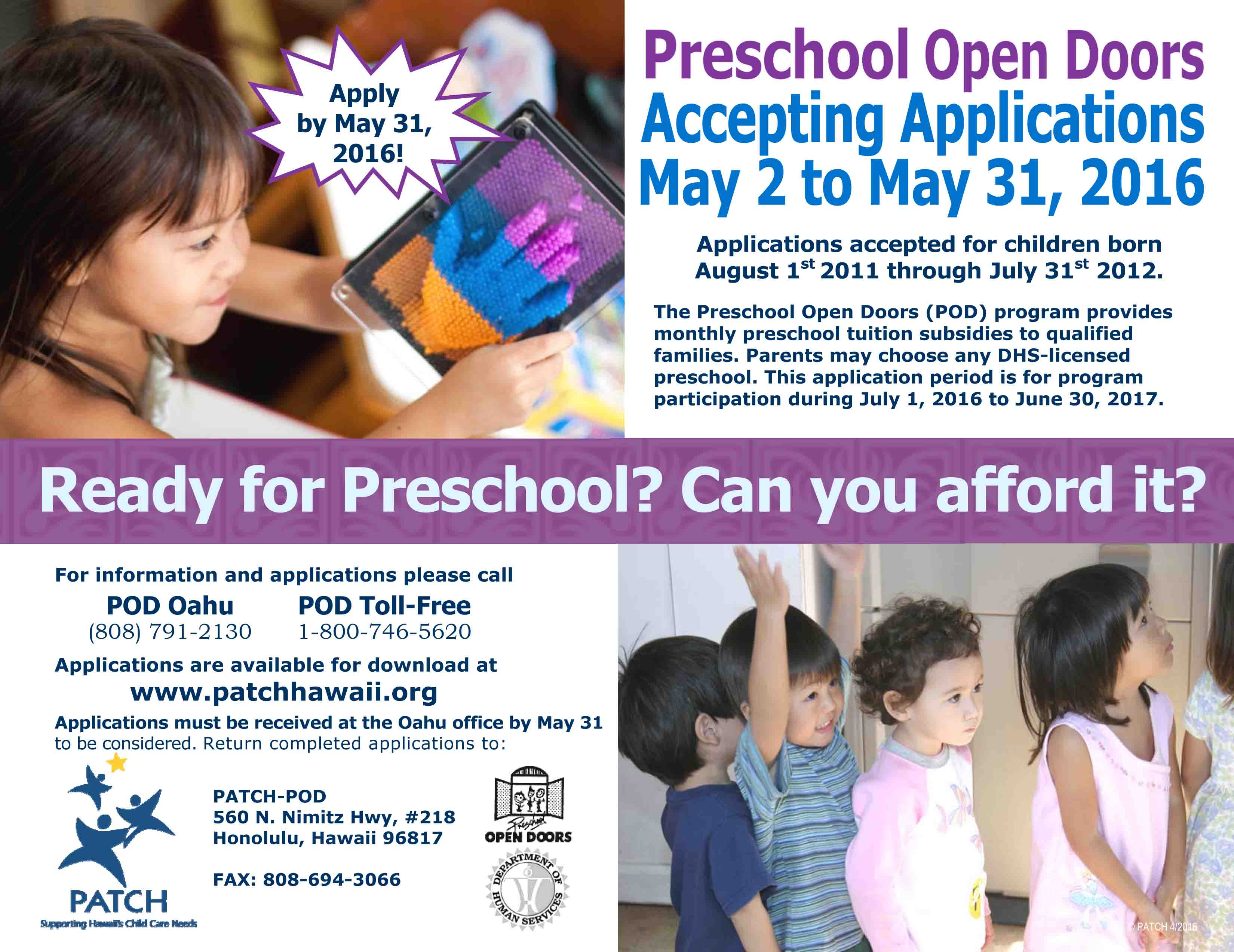 Preschool Open Doors (POD) program application period for families in need of preschool tuition assistance - MAUI FAMILY  sc 1 st  Maui Family Magazine & Preschool Open Doors (POD) program application period for families ...