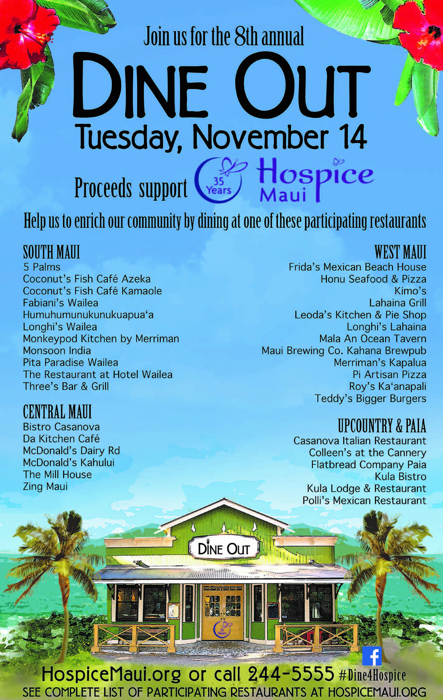 "Dine Out for Hospice Maui!"" Tuesday, November 14 - MAUI FAMILY"